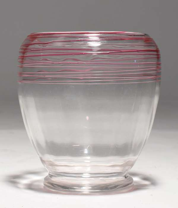 "Steuben red threaded glass vase, 7""H."