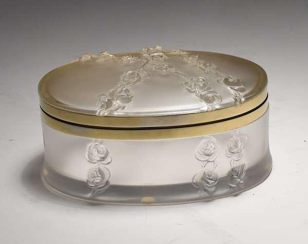 "Lalique hinged dresser box, 7""L. X 3""H."