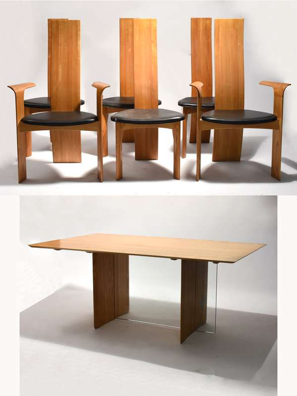 Unique Danish modern table marked Tranekaer Furniture, with six chairs, with Danish control labels