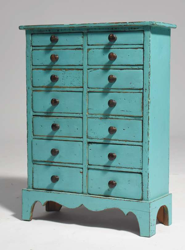 "Country turquoise painted graduated drawer spice cabinet, 19.5""H."