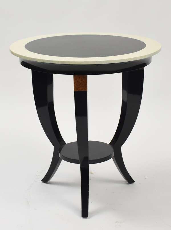 Good designer tri-footed side table, ebonized wood with burl embellishments