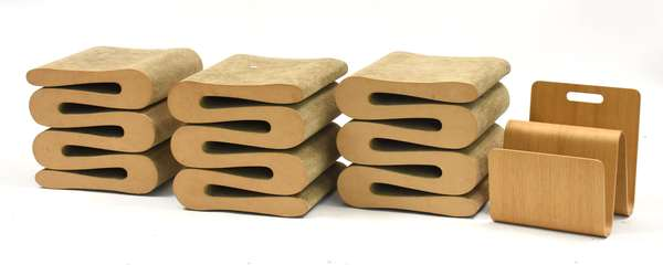 """Three Frank Gehry/Vitra squiggle stools, 16""""H. x 17""""W., with a bent wood magazine holder"""