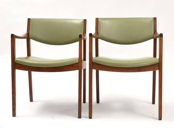 Nine green leather mid century arm chairs by W. H. Gunlocke chair co.