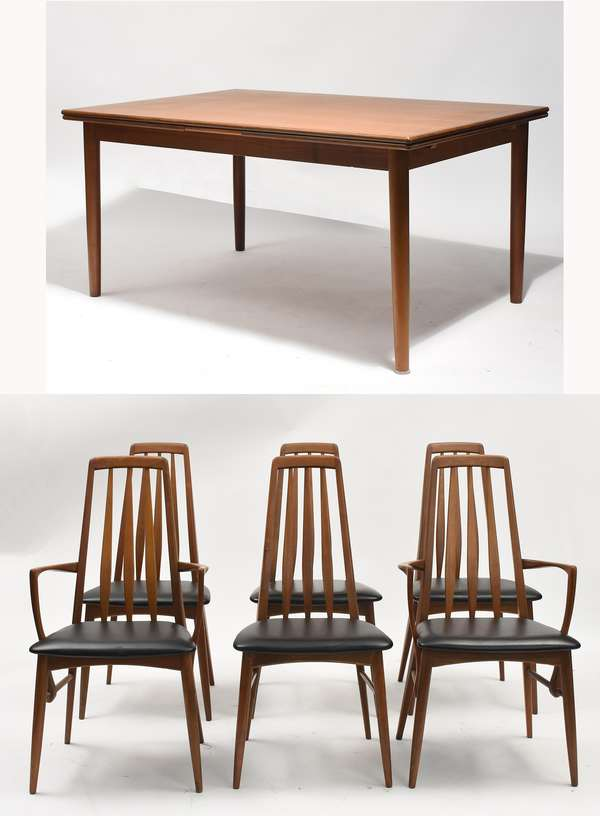 Danish Dansk dining table with 6 Danish dining chairs, by Koefelds, two arms