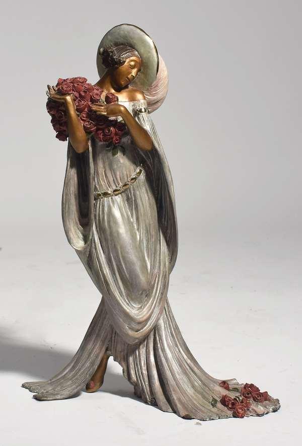 "Cold painted bronze sculpture after Louis Icart, ""Tosca"", Rosenbaum, 1986, 19"""