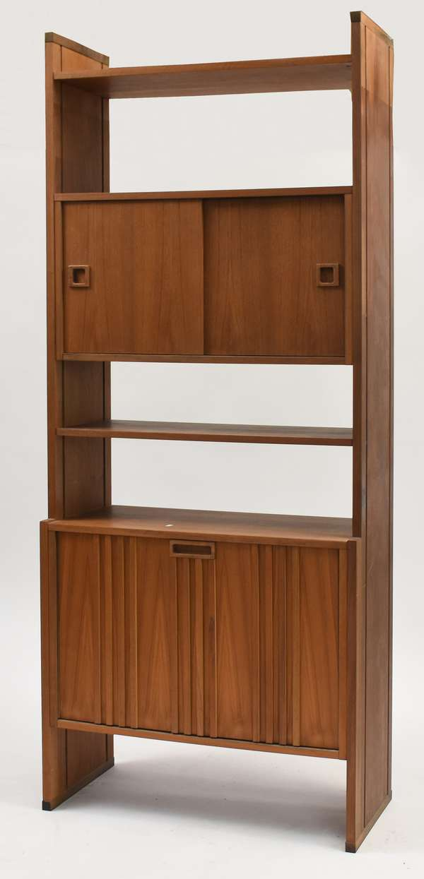 """One of a pair of Danish bookcase with doors and shelves, 79""""H. x 32""""W. x 16""""D."""
