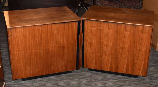 "Pair of modern side tables, Viking Imports, 28"" x 24""H. x 20""D."