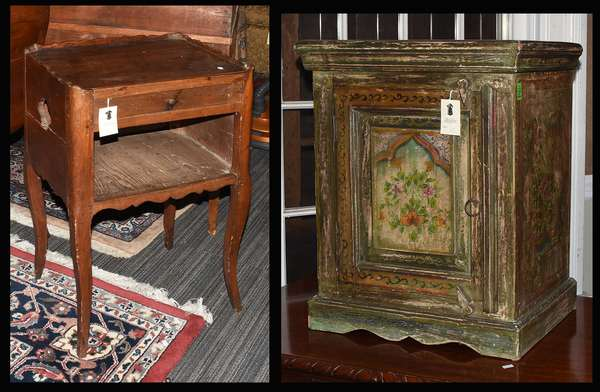 """Northern European hanging cupboard paint decorated with door 21""""W. x 24""""H. x 13""""D. along with a period French one drawer stand, 28.5""""H. x 18""""W. (27,misc)"""