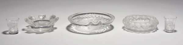 """Five pieces of Lalique glass: fish plate 6.5"""" Dia., small toothpicks 1.75""""H. and others  (Split from 33)"""