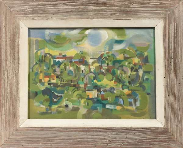 """Modern Cubist French oil on canvas, signed lower right Pinget , 13"""" x 18"""""""