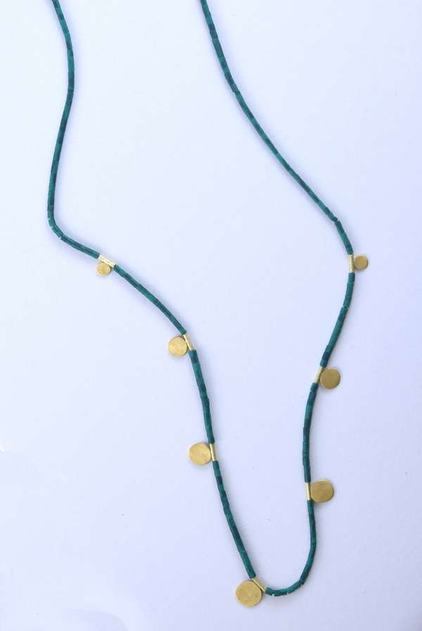 Ananda Khasla malachite beaded necklace with 22kt yellow gold disk accents, 19 inches long, 4.1 grams.