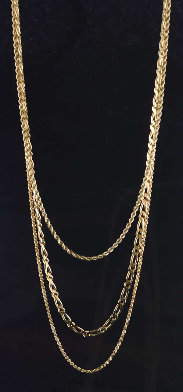 "Three 14k yellow gold chains, 15"", 18"" and 19"", 22.4 grams"