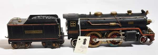 Lionel 390E 2-4-2 steam loco, orange running board, Standard