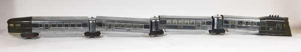 Lionel Flying Yankee Set, 616, 617 (2), 618, Chrome, gunmetal