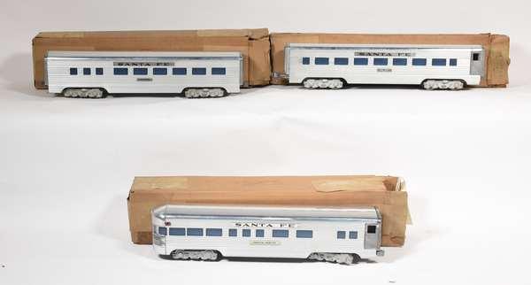 American Model Trains 3 car passenger set, Santa Fe Indian Arrow, 3160, Diner, OBS.