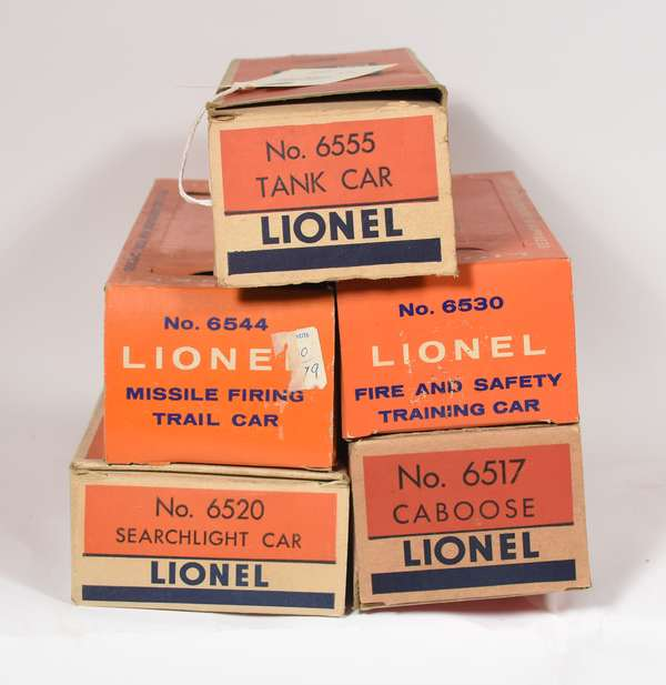 Lionel Postwar Freights in original boxes, 6517, 6530, 6420, 6544, 6555, OBS.