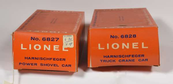 Lionel Postwar Freight in original boxes, 6827 Harnischfeger Power Shovel Car, 6828 Truck Crane Car, OBS