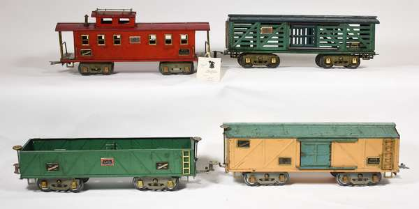 American Flyer Wide Gauge Freights, 4017 Sand Car, 4021 Caboose, 4020 Stock, 4018 Automobile