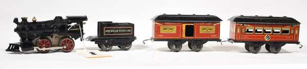 American Flyer Set, steam loco, 120 tender, 1200, 1201 cars
