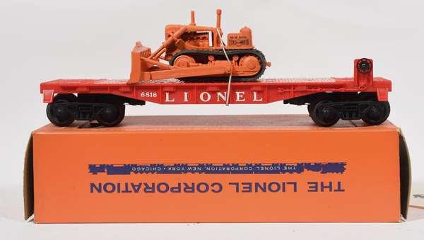 Lionel Postwar 6816 Flat Car with Bull Dozer, OB