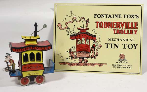 Fontaine Fox's Toonerville Trolley w/tin sign