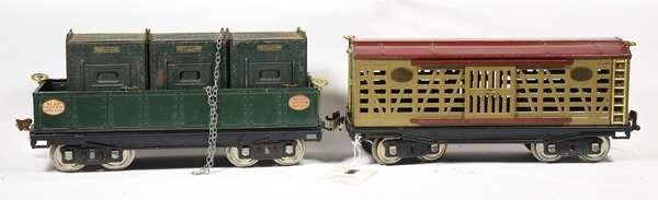 Lionel 213 Stock Car, 212 Gondola w/205 Containers