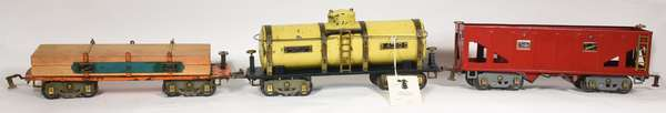 American Flyer Wide Gauge Freights 4010 Tank, 4006 Hopper, 4022 Flat w/lumber