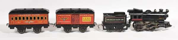 American Flyer wind-up set, steam loco/tender, 1107, 1108 cars