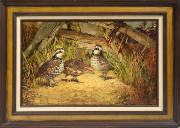 """Oil on board by Louise Lapina, """"Bobwhite"""" with Society of Animal Artists label on reverse, 16"""" x 24"""""""