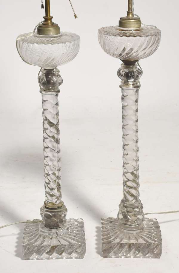 Pair of 19th C. Baccarat banquet lamps