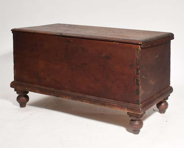 18th C. blanket chest on ball feet,in red paint