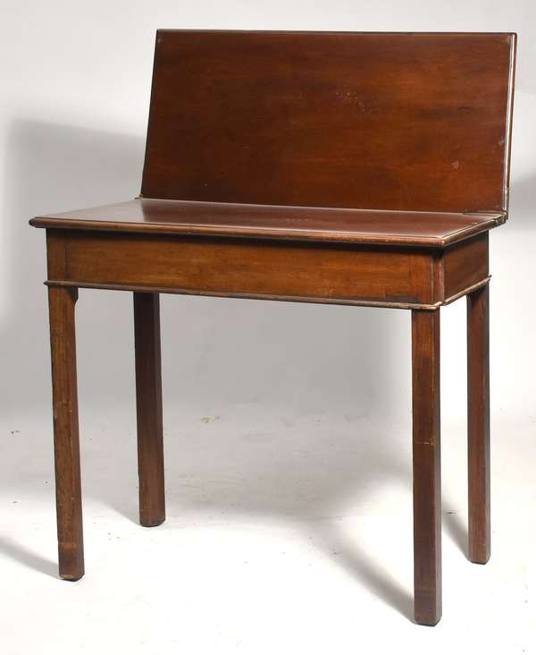 """Chippendale mahogany card table with hinged fold lid on square block legs, ca 1790, 32""""W x 28""""H x15""""D"""