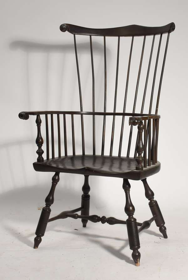 """Fan back Windsor armchair with saddle seat, branded DR Dimes, 18"""" seat height 47"""" overall"""