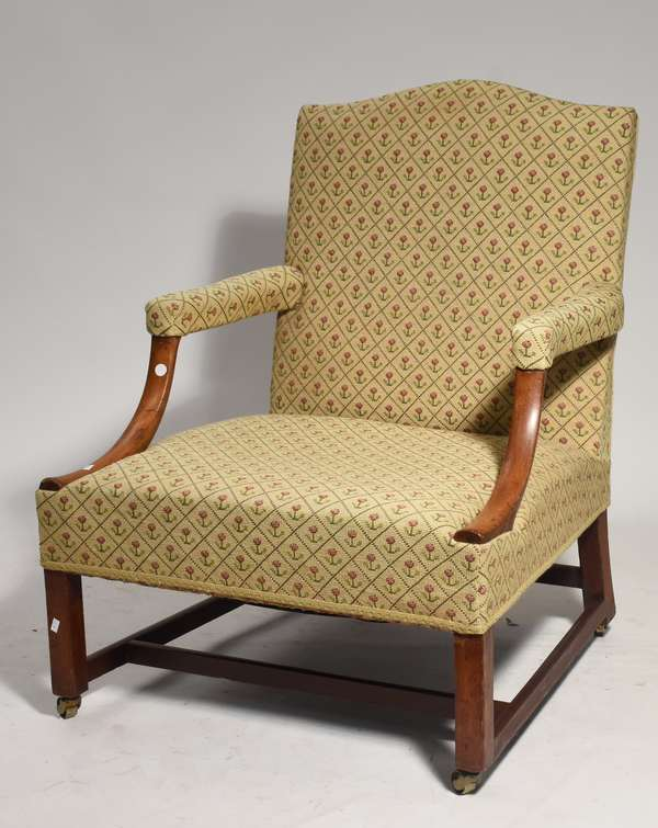 """Chippendale lolling  arm chair on stretcher base upholstered seat height 15 """" and overall height 37 """" ca 1800"""