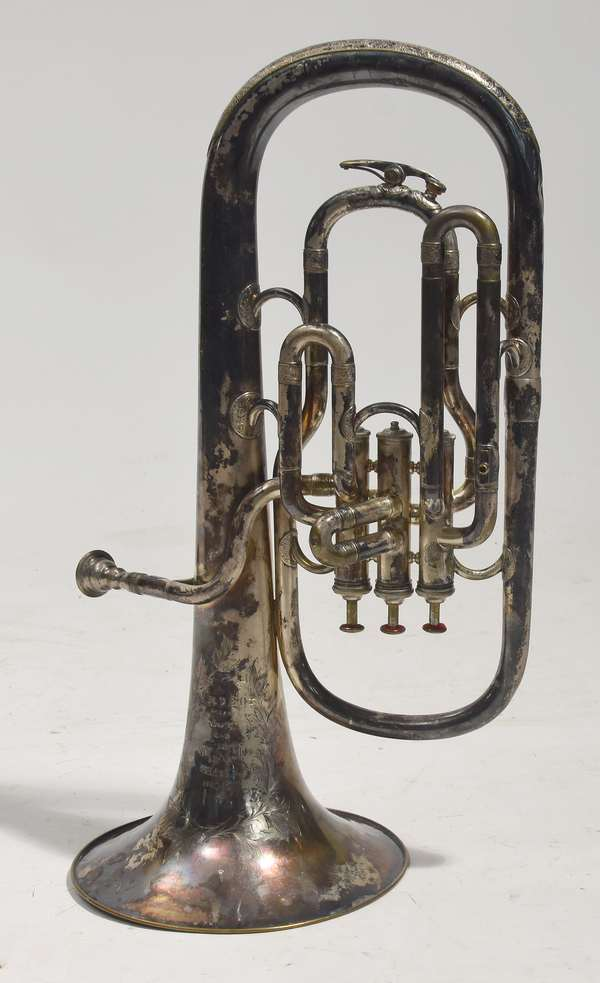 """Silvered military horn, by J.W. Pepper, Philadelphia, no. 8395, 20""""L."""
