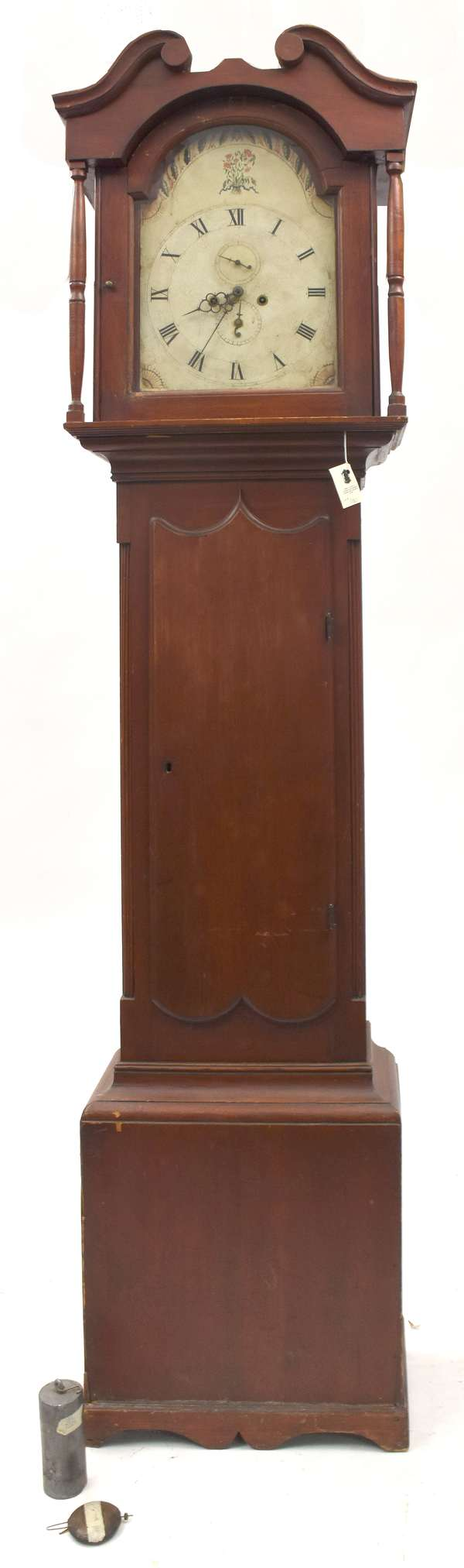 """18th C. Chippendale Grandfather clock with brass works, painted dial case on bracket base in old surface, 85""""H."""