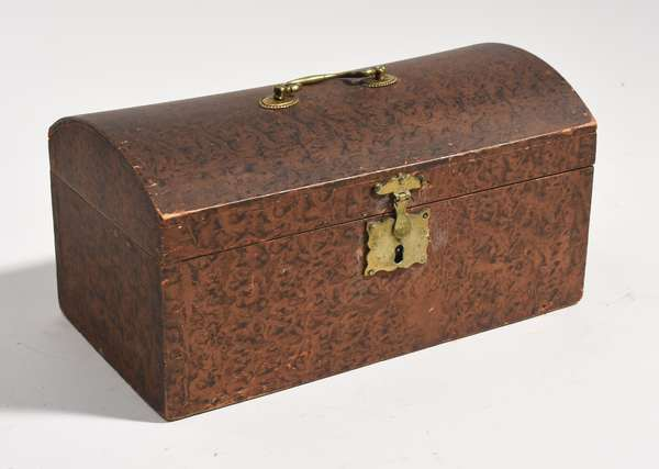 Country grain painted dome document box, 12'L.