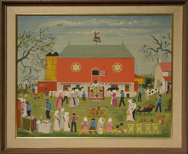 "David Ellinger silkscreen, country auction scene, 22"" x 27"""
