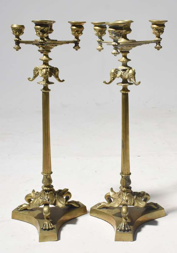 "Pair of bronze candelabras with elephant head motifs, 18""H. (split)"