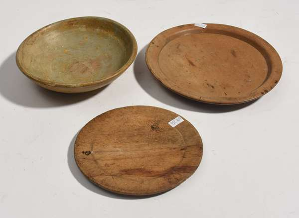"""Three early treenware items: two plates, 6.5"""", 8,5"""" Dia., with bowl, 7"""" Dia."""