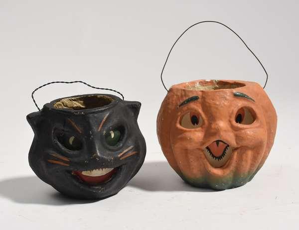 "Two antique Halloween Jack-O-lanterns, pumpkin 6.54""W., and cat 7""W."