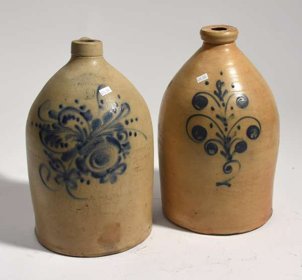 """Two stoneware jugs with cobalt decoration, West Troy Pottery, 15""""H., and other 15.5""""H."""