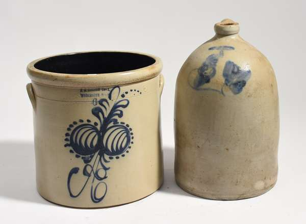 """Large stoneware jug with cobalt flower design, Flack and Van Arsdale, 17""""H., with crock F. B. Norton and Sons, Worcester Mass., 13""""H."""