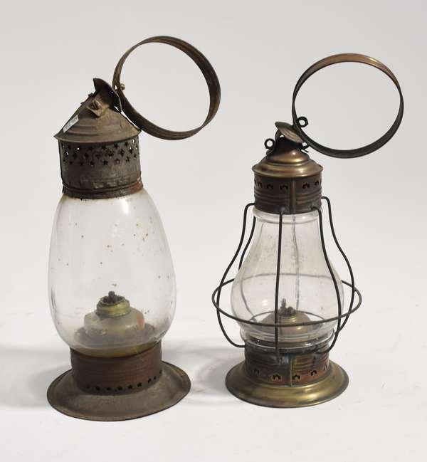 "Two antique onion style lanterns, 11"", 13""H."