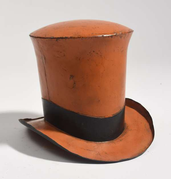 "Tin Hat trade sign/advertisement, orange painted, 8.5""H. x 11""W."