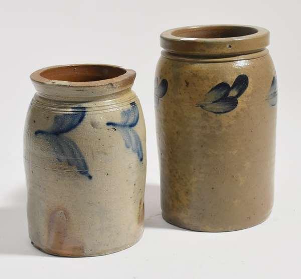 "Two PA stoneware jars, 9"", 10""H."