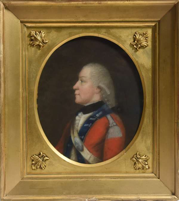 """Early pastel of a British soldier in red coat, ca, 1800, 10""""H. x 8""""W."""