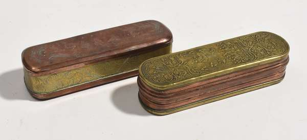 """Two 18th C. copper and brass tobacco boxes, one depicting Christ and the apostles, 6""""L., with other example featuring German description 6""""L."""