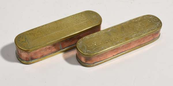 """Two 18th C. Copper and brass tobacco boxes, both with Dutch inscriptions 7""""L. and 6.5""""L."""