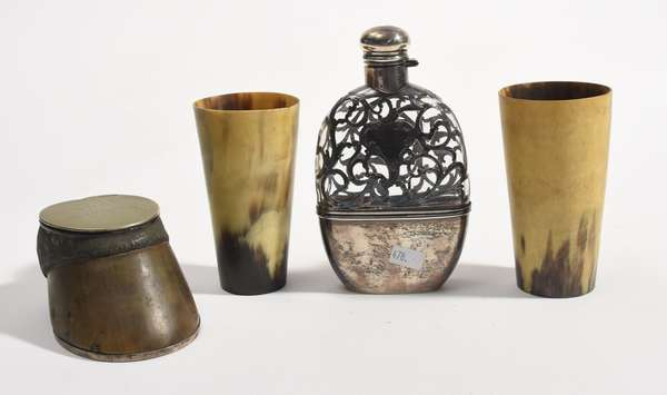 """Small lot of collectibles: two horn cups 4.5""""H., with a silver overlay flask 6""""H. and a hoof form box, 5""""L."""